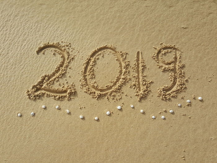 2019 2019 Year New Year Year 2019 2019 Beach Written Written In The Sand Beach Sand Full Frame High Angle View Close-up