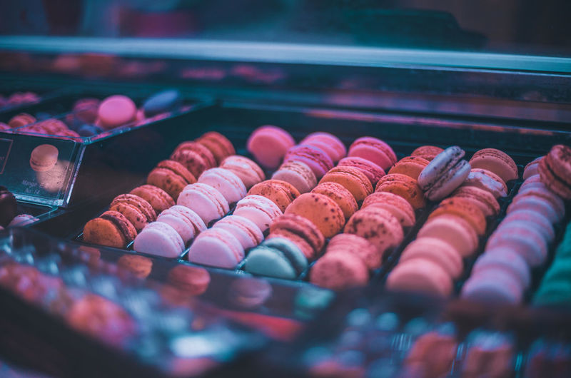 Close-up of macarons for sale