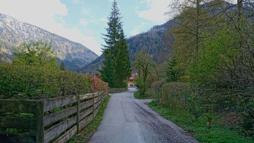 Entering Bayrischzell. · Bayrischzell Germany Bavaria Bayern Village Rural Architecture Hiking Road Buildings Mountains Beautiful Day