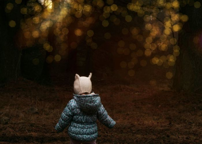 Little girl exploring woods