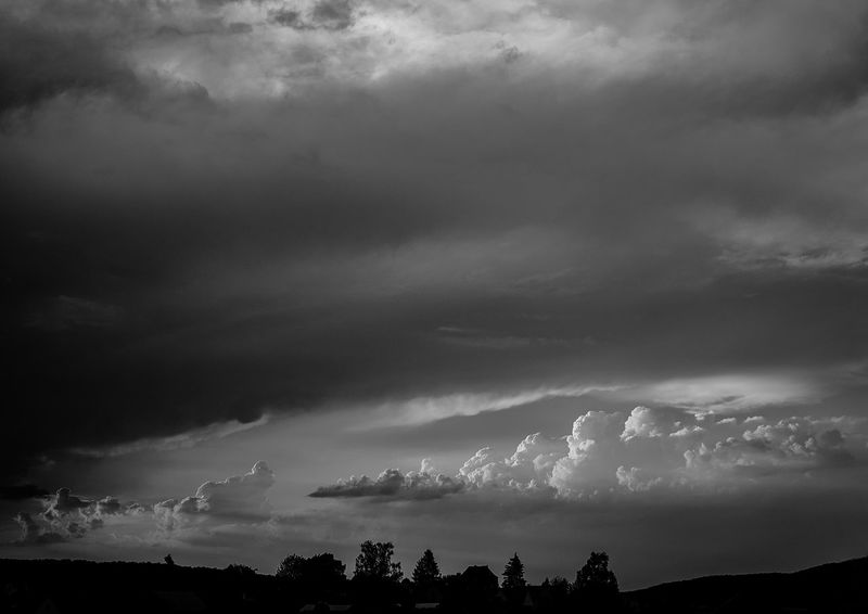Dramatic Sky Beauty In Nature Black And White Cloud - Sky Dark Dramatic Sky Environment Hell Und Dunkel Low Angle View Nature No People Ominous Outdoors Overcast Plant Power In Nature Scenics - Nature Silhouette Sky Storm Storm Cloud Thunderstorm Tranquil Scene Tranquility Tree