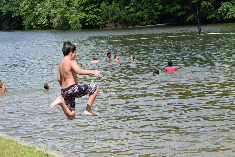 Shirtless Water Lake Day Togetherness Swimming Outdoors Childhood Nature Vacations Leisure Activity High Angle View Fun Boys Full Length Real People Two People Child People Tree Jumping Live For The Story Sommergefühle
