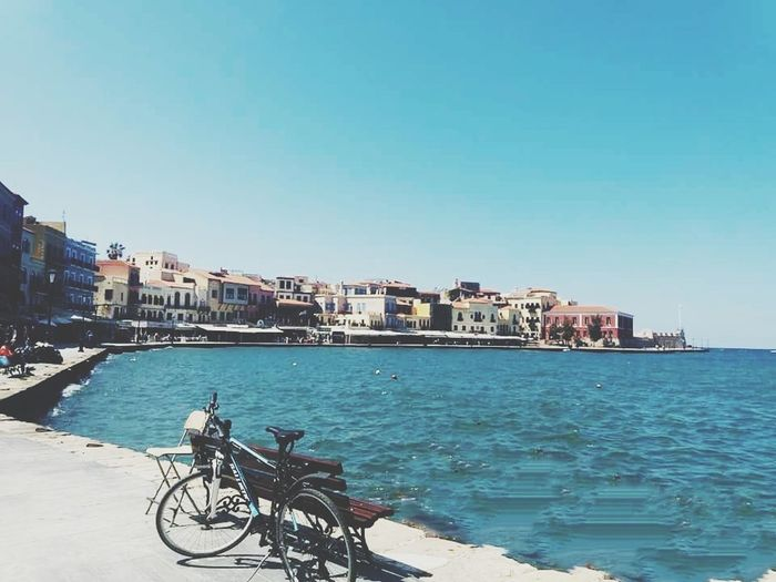 Schooltrip 🎓 View Crete City Clear Sky Cityscape Sea Water Beach Bicycle Blue Cycling Stationary