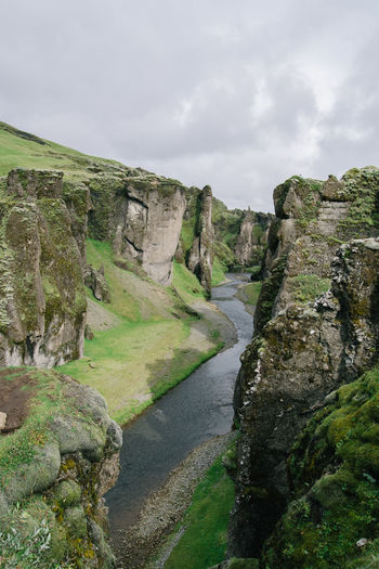 Beauty In Nature Canyon Cloud Cloud - Sky Cloudy Day Fjaðrárgljúfur Green Color Iceland Iceland Memories Iceland_collection Idyllic Landscape Nature Non-urban Scene Outdoors Remote Scenics Sky Tranquil Scene Tranquility