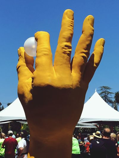 Human Body Part Human Hand Yellow Blue Sky Hand Fingers Hand Sign Hand Signals Hand Signal Hand Signs Sculpture Hand Model Hand Modeling Ping Pong Ping Pong Ball Paint The Town Yellow