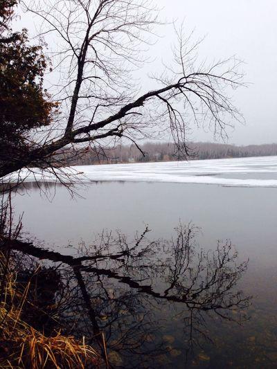 Ice retreating on Sawyer Lake IPSNoFilter Reflection Water Ice