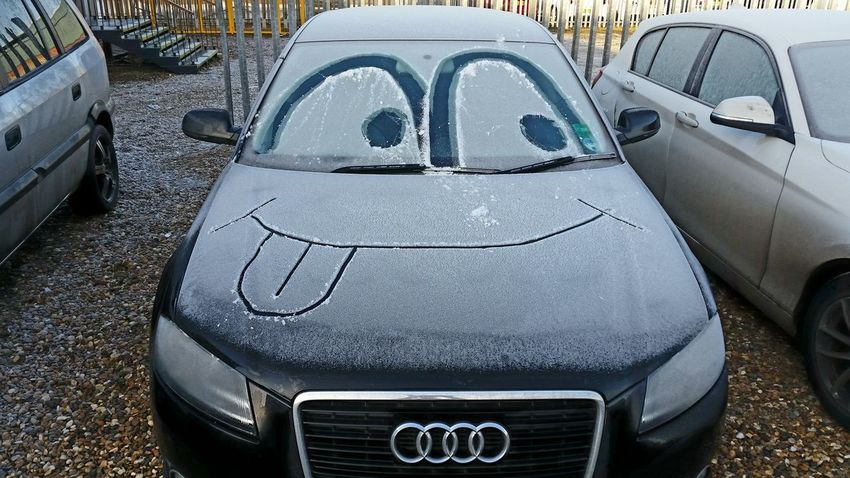 Messing with the company car MAKE YOU SMILE ON THOSE COLD MORNINGS