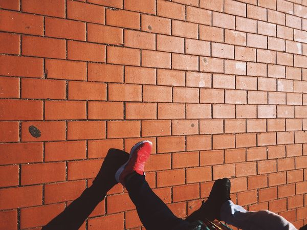 _ walk the wall | IPhoneography Streetphotography Light And Shadow Bricks Walking Around Street Photography Getting Inspired Taking Photos Urban Lifestyle Enjoying Life