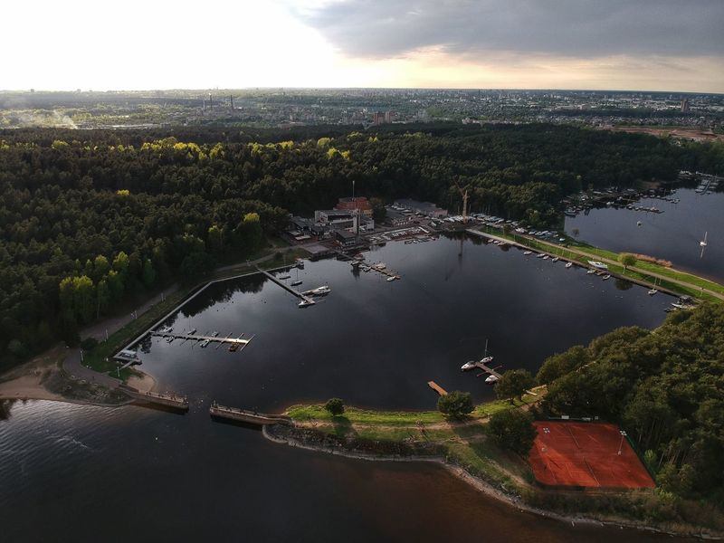 Kaunas yacht club from above Yacht Harbor Yacht Club Kauno Marios Kaunomarios Kaunas Yachtclub Water High Angle View Sky Nature Architecture Tree Plant Cloud - Sky Beauty In Nature No People Scenics - Nature Environment Outdoors Cityscape