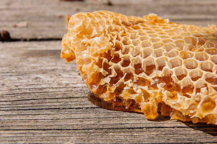 APIculture Bee Beehive Close-up Focus On Foreground Food Food And Drink Freshness Hexagon Honey Honeycomb Natural Pattern Nature No People Pattern Sunlight Sweet Food Table Wood - Material Yellow