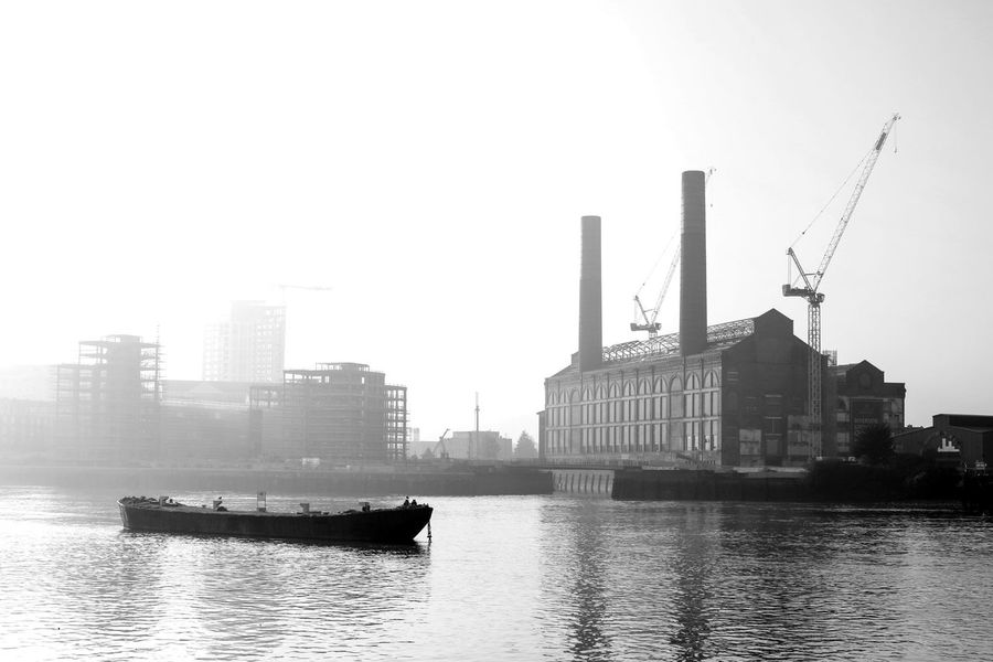 Architecture Building Exterior Built Structure City Cityscape Clear Sky Day Industrial Industrial Landscapes London Modern Nature Nautical Vessel No People Outdoors River Sky Skyscraper Thames Thames River Thames River Side Transportation Urban Skyline Water Waterfront Black And White Friday