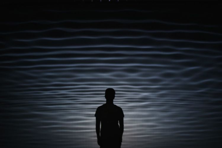 Day Lake Lifestyles Men Nature One Person Outdoors People Real People Rippled Silhouette Standing Water Young Adult