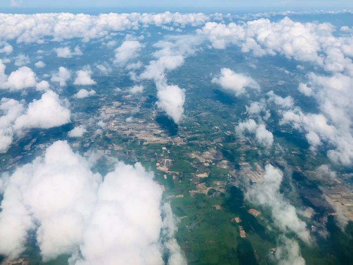 The clouds and ground from top view Aerial View Beauty In Nature Cloud - Sky Scenics - Nature Day Nature Environment High Angle View Water Sky No People Outdoors Cloudscape Tranquil Scene Tranquility Landscape Land Non-urban Scene Idyllic