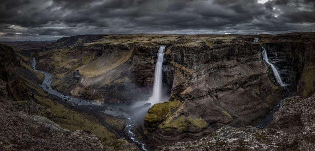 Tantrum. Waterfall Beauty In Nature Scenics Nature Water Travel Destinations Long Exposure Háifoss Moody Storm Cloud Nikon Environment Power In Nature Landscape Cloud - Sky EyeEmNewHere Rapid Natural Phenomenon Sky Day Panorama Panoramic Iceland Waterf EyeEmNewHere The Great Outdoors - 2017 EyeEm Awards