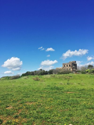 Old ruin on field against blue sky