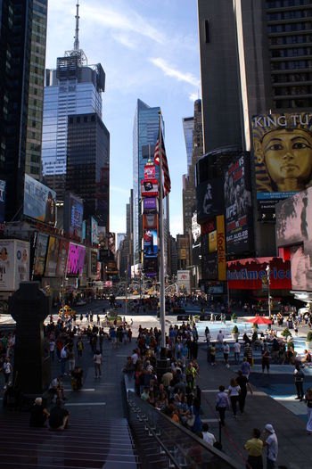 Time Square City Day Outdoors People And Places Piazza Plaza Time Square, New York Time Square, New York City, NY