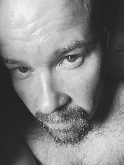Bare chested. Bare soul. Bare my all. That's Me Portraits Selfportrait Black And White Hazel Eyes  Baldhead Faces Of EyeEm