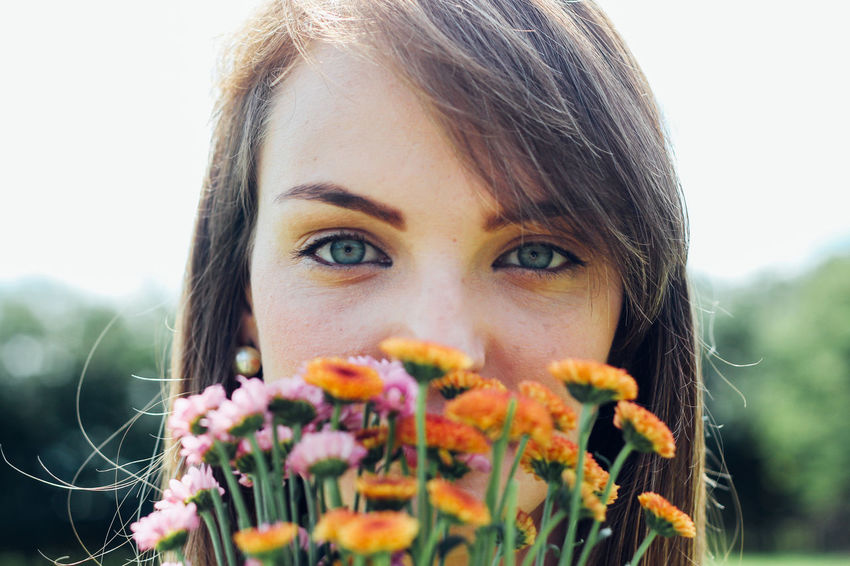 Blue Eyes Cat Eyes Flower Flowers Girl Power Nature Outdoors Portrait Of A Woman The Portraitist - 2017 EyeEm Awards