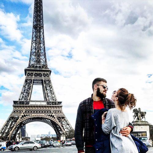 Paris Paris, France  Travel Destinations Tower Tourism Travel Heterosexual Couple Two People Sky Togetherness Couple - Relationship Lifestyles Smiling Built Structure Cloud - Sky Love Young Adult Young Men Young Couple Men Young Women Casual Clothing