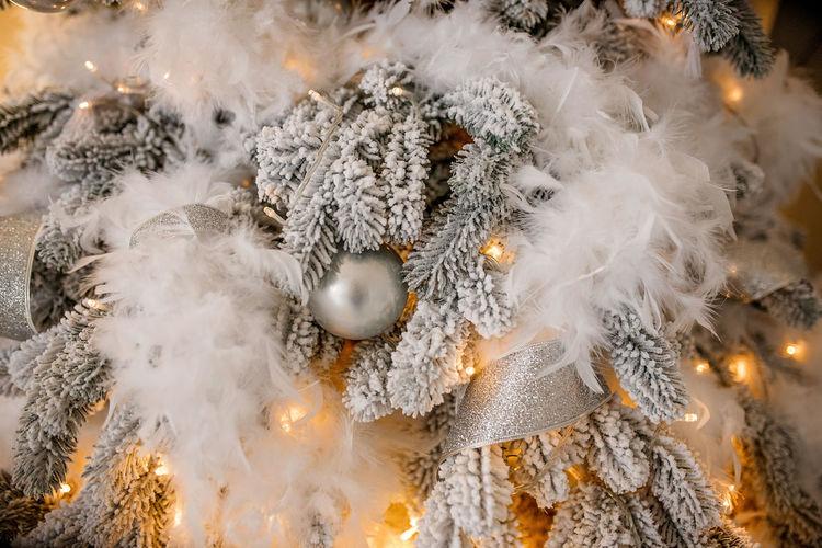 Close-up of illuminated christmas tree in snow