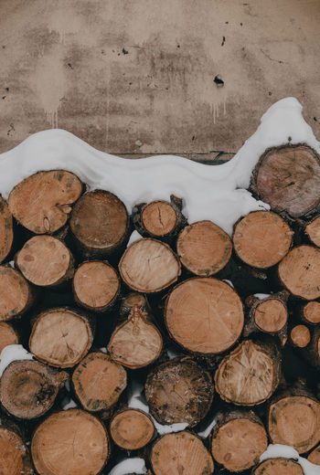 Stack of wood with snow layered on top.
