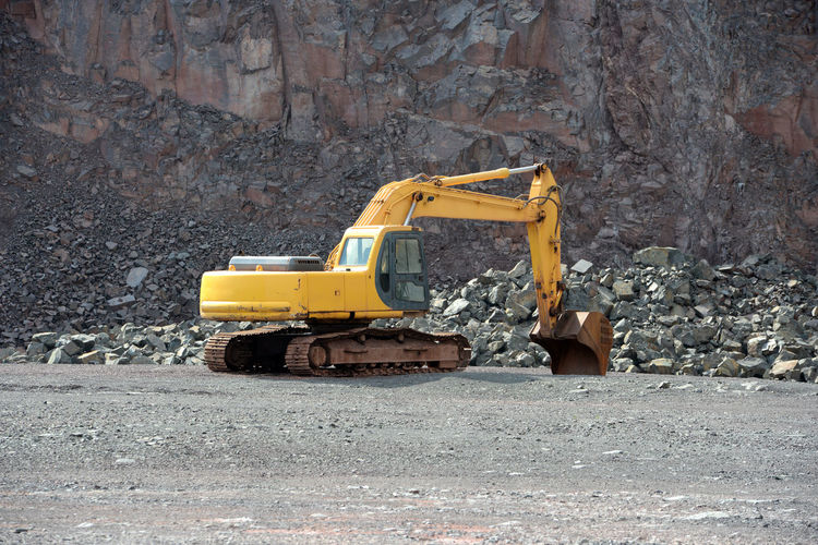 Earth mover at construction site