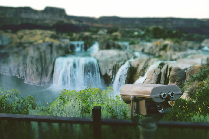 Green Idaho Falls Shoshone Falls, Idaho Traveling View Beauty In Nature Binoculars Blurred Motion Close-up Coin-operated Binoculars Day Flowing Water Long Exposure Motion Nature No People Outdoors Rich Colors River Scenics Sky Spraying Tree Water Waterfall