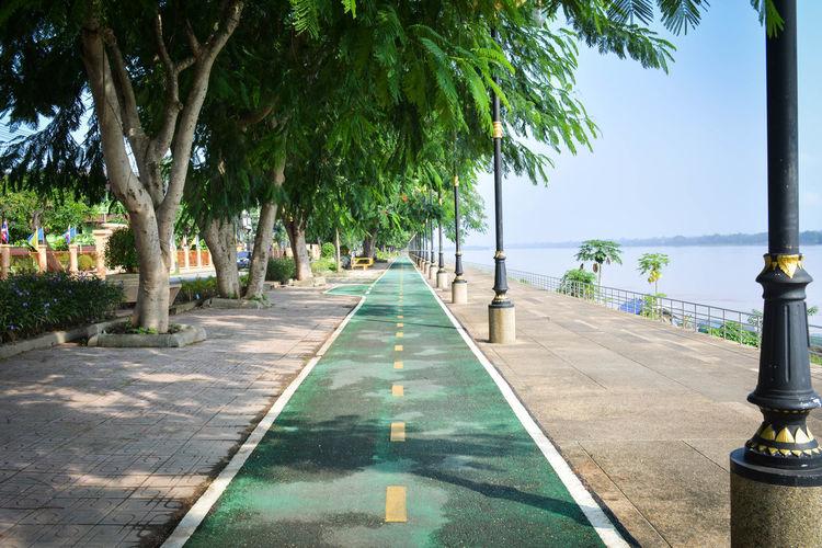 Bicycle lane by promenade