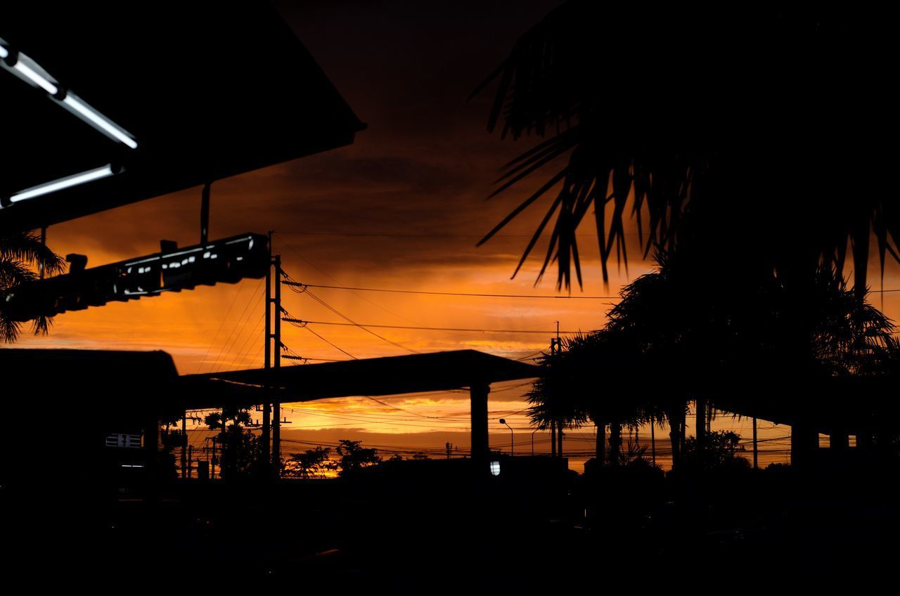 silhouette, sunset, orange color, sky, tree, architecture, built structure, no people, nature, plant, cloud - sky, lighting equipment, palm tree, illuminated, beauty in nature, water, building exterior, outdoors, tropical climate, scenics - nature, dark