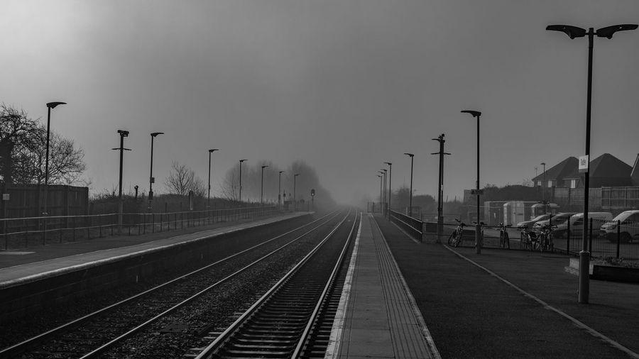 View of railroad station platform against sky
