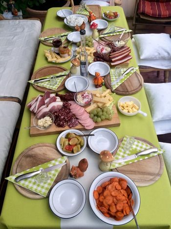 Große Platte Food And Drink Plate Cheese Eat Meal Food Ham Salami Kren Mountain Cheese Radish Mixed Pickles Enzian Schnaps Drink High Angle View Bretteljausen Healthy Eating Table Bowl Ready-to-eat No People Variation Directly Above Freshness Indoors  Day Food Stories