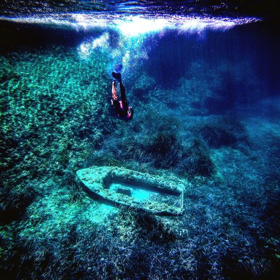 Deep sea Naufragio Boat Deep Snorkeling Ibiza Water One Person Adventure Exploration Sport Aquatic Sport Summer Sports Sea Nature Swimming Lifestyles Underwater UnderSea Blue Underwater Diving EyeEmNewHere