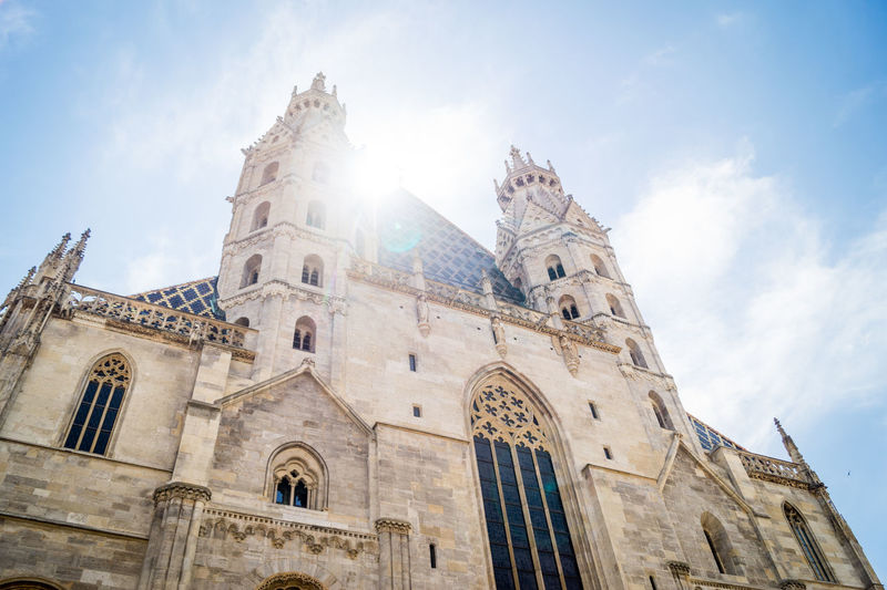 Built Structure Sky Architecture Building Exterior Low Angle View Place Of Worship Spirituality Religion Belief Building History The Past Travel Destinations Cloud - Sky Nature Sunlight Day No People Lens Flare Outdoors Gothic Style Church Dome European  Peterskirche