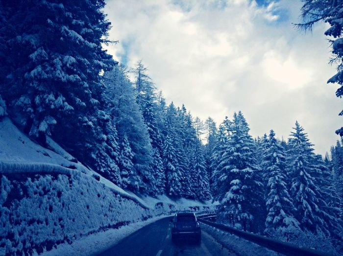 On the road from Zürich to Pontresina Natural Beauty Snow Switzerland
