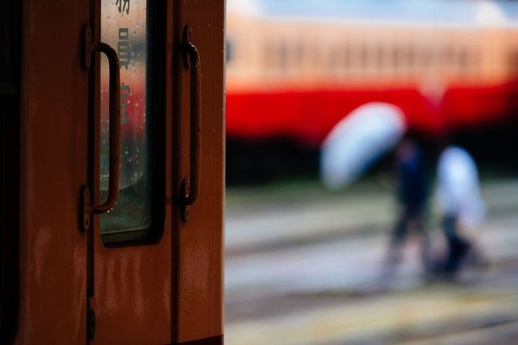 Rainy Days Railway Station Umbrella Trains Transportation Mode Of Transport Red And White October October 2016 Raining Chiba Japan Travel Capture The Moment Local Train 小湊鉄道