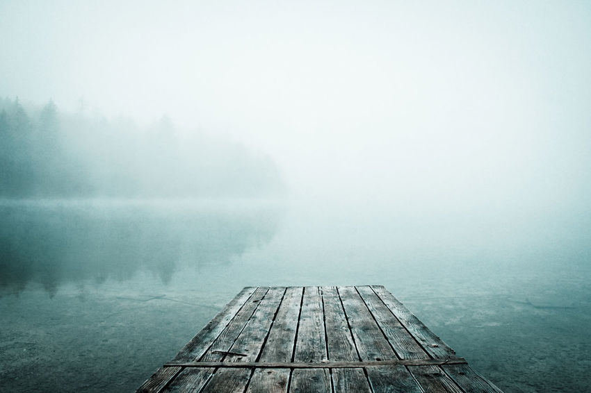 Slovenia Bridge River Water Lake Lake View Fog Foggy Wood Trees Cold Dawn Spooky Atmosphere Spooky Atmosphere Winter