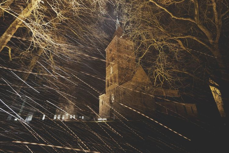 Alexanderkirche in der Nacht bei Schneeregen Rain Building Exterior Chucrch Close-up Nature Night No People Outdoors Religion