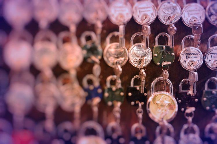 Full frame shot of keys and padlocks