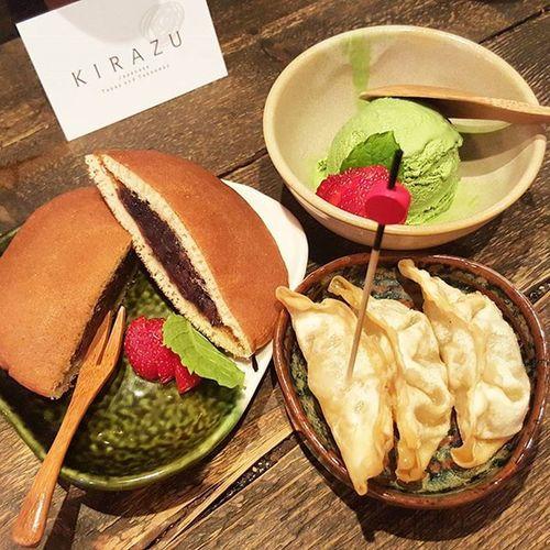 Japanese Apple gyoza, green tea ice cream & red bean pancake. 😊 Deliscious Tasty Dessert Pancake Gyoza Icecream Greentea Matcha Foodpic Food Dinner Healthy Authentic London Soho