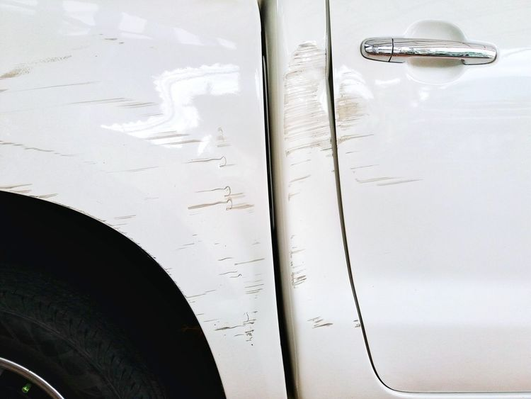 No People Car Car Door Car Door Handle Scrach Scratching Vehicle Crash Damaged Collision Cracked White Car Scratch Wreck Injured Accidents And Disasters Repairs Needed