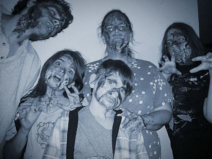 Happy Halloween Family Time Zombies  Black & White