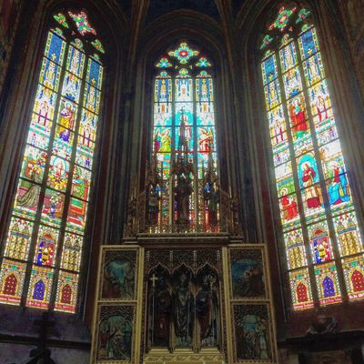 Prague St Vitus Cathedral Prague Castle Windows Stained Glass Colours Art Czech Republic