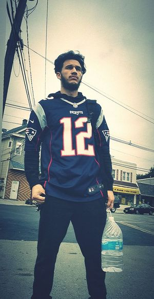 My winning Jersey! Samsungphotography EyeEm Selects New Jersey Fitness Good Morning Clouds Morning Light Newengland PATRIOTSNATION Patriots  NFL Brady TB12 Sportsman Police Force Standing Sport Front View Authority Sky