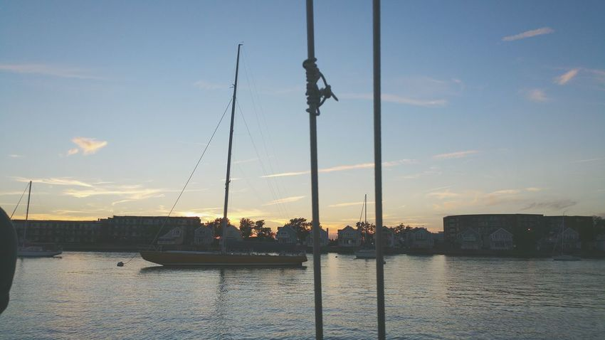 Ships Outdoors Thesea Sunset Sky AloneInTheOcean Rhode Island Photography⚓ Rhode Island IamTheOceanIamTheSea Silhouette No People Architecture Day Takemebacktoparadise
