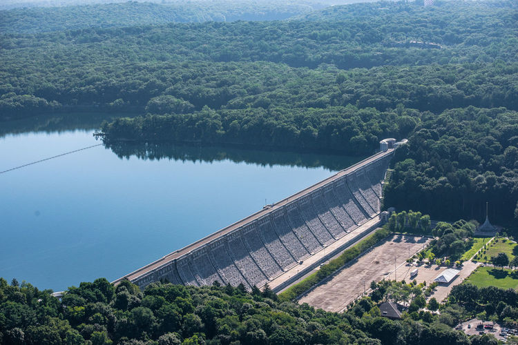 Kensico Dam Westchester County Aerial Shot Architecture Beauty In Nature Dam Hazy Morning Helicopter Shoot Horizontal Kensico Dam Nature Reservoir Scenics Water Westchester County
