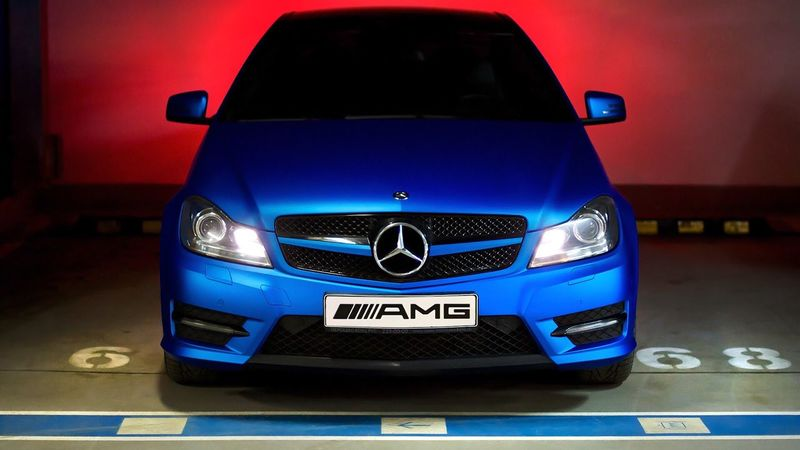 Blue Car Mercedes-Benz Moscow Underground Parking