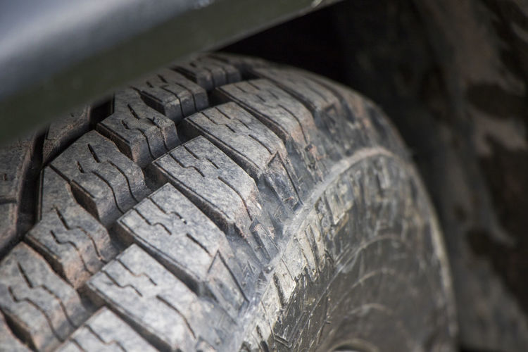 Close-up of tire track