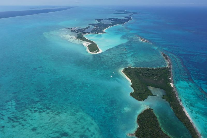 Aerial view of green turtle cay