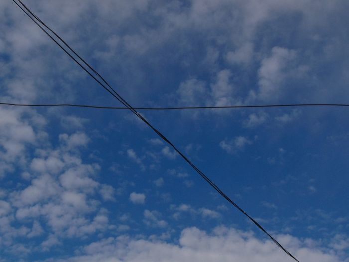 Blue Cable Cloud Cloud - Sky Cloudscape Cloudy Day Majestic Nature No People Power Line  Steel Cable Tranquility