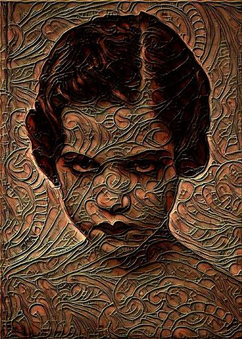 A vintage photo that I edited... Photo Vintage Girl Emotional Angry Eyes Sinister Creepy Pattern Overlay Editing